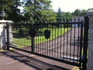 black sliding residential gate